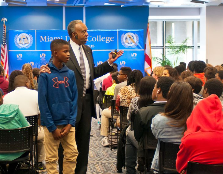 Author and business leader Clifton Taulbert shares entrepreneurial life lessons at North Campus during Black History Month.