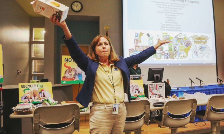 At the WE-LAB workshop, participants learned recycling tips from Jeanmarie Massa, who works with the Department of Solid Waste Management.