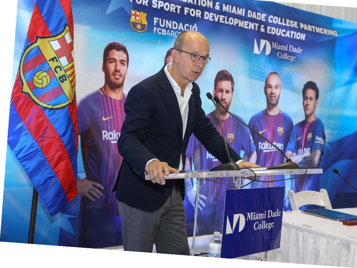 FC Barcelona First Vice President Jordi Cardoner announced the foundation's partnership with MDC during a press conference at Wolfson Campus.