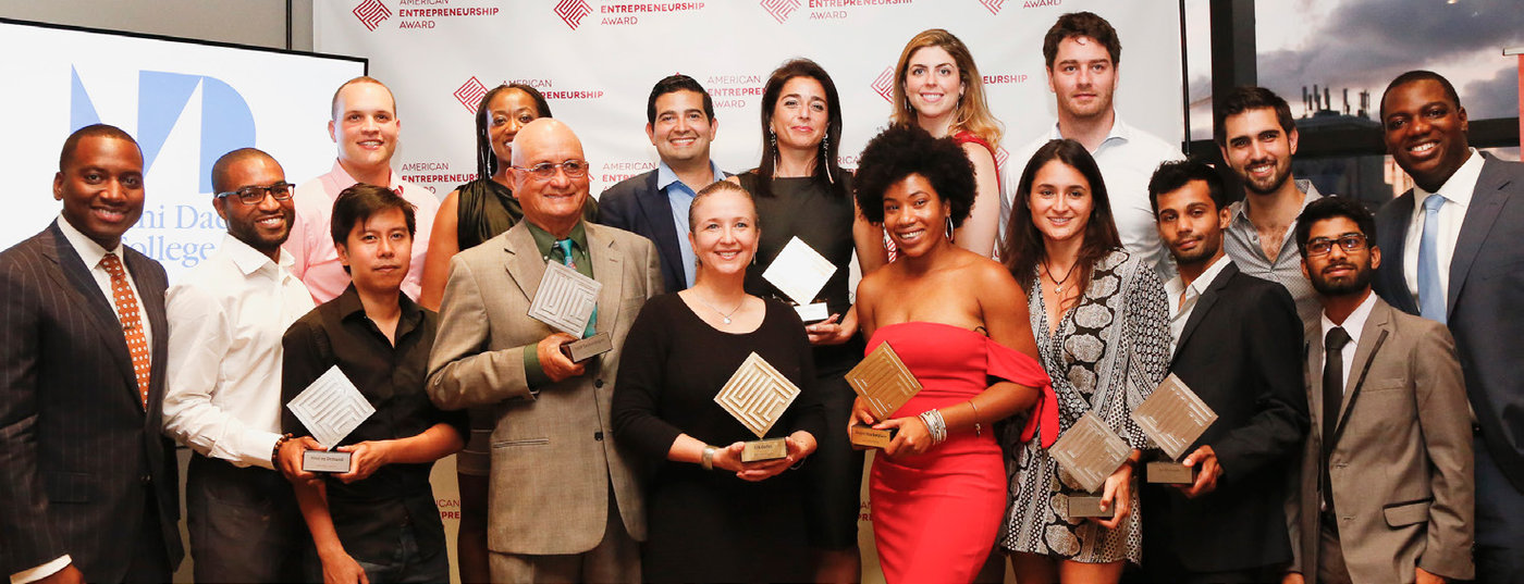 Leyanis Diaz (front row, fourth from right) was one of five American Entrepreneurship Award winners in Miami-Dade County.