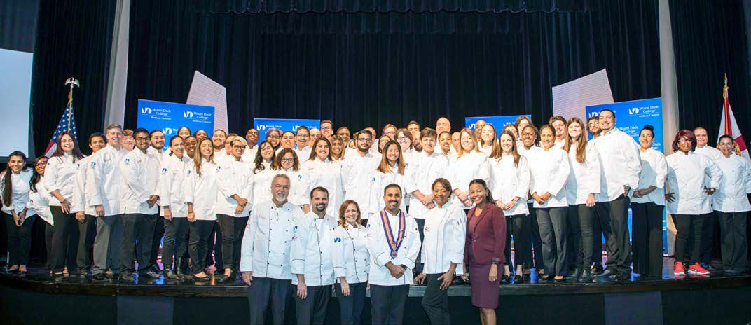 MDC's Miami Culinary Institute (MCI) inducted a new class of aspiring culinary artists who received their white chef coats at a special ceremony at Wolfson Campus.