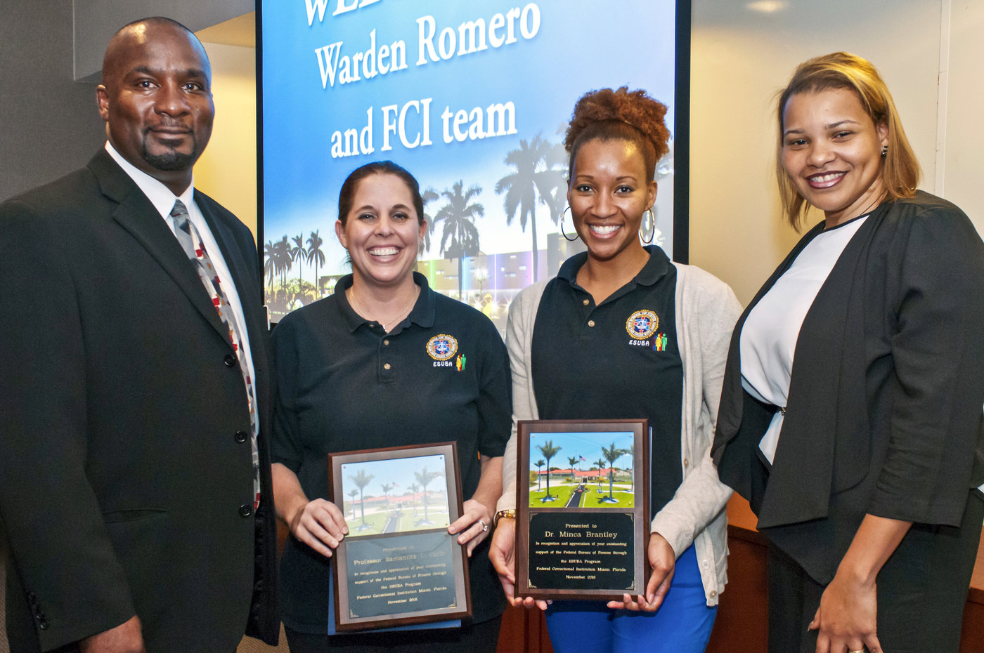 Left to right: Florida Correctional Institution (FCI) Warden Romero, MDC professors Samantha Carlo and Minca Davis-Brantley, and FCI's Angie Acevedo
