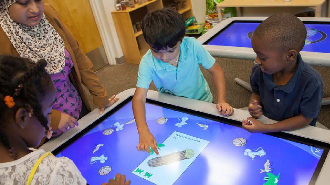 Children at the Exploration Station have access to interactive learning opportunities.