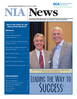 NIA News, January/February/March 2014, volume 21, Issue 1