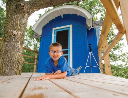 "Bowde, 5, brain tumor. ""I wish to have a treehouse."" Photo: Make-A-Wish Foundation"