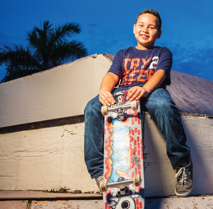 "Angel, 6, vascular malformation, ""I wish to be a professional skateboarder."" Photo: Make-A-Wish Foundation"