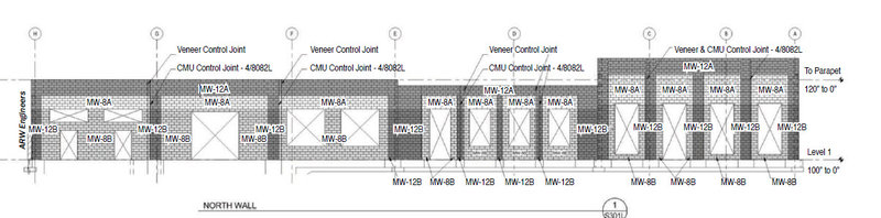 Exterior Elevation of Masonry Shear Wall