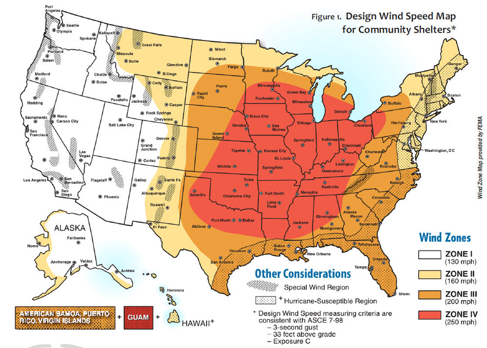 Figure 1. Design Wind Speed Map for Community Shelters*