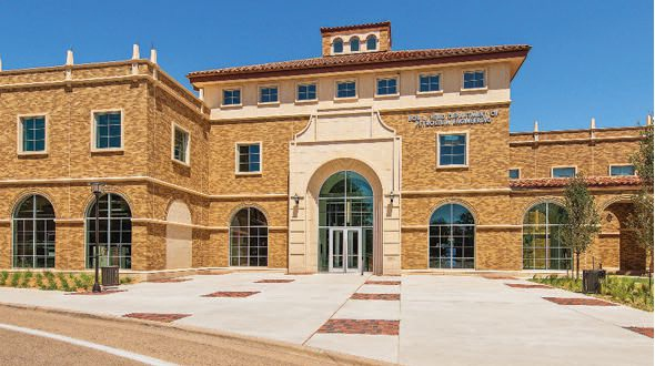 Custom Texas Tech brick blend of four earth-tone brick and cast stone on the Terry Fuller Petroeum Engineering Research Building sets the tone for first-class learning environments inside.