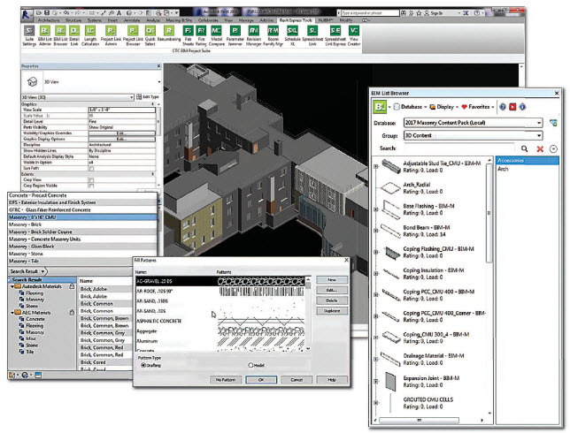 Examples from the masonry pack showing express tools menu with the BIM list browser providing a wide selection of 3D content materials relating to masonry. The browser also provides standard masonry walls, masonry detail items, and profiles.