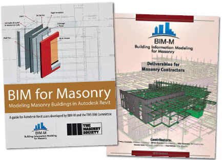 BIM for Masonry –Modeling Masonry Buildings in Autodesk Revit (left) contains web-based masonry materials database to interact with existing BIM software. BIM Deliverables Guide for Mason Contractors (right) is a resource for contractors about the benefits of modeling.