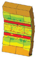 Isometric view of flexural stresses