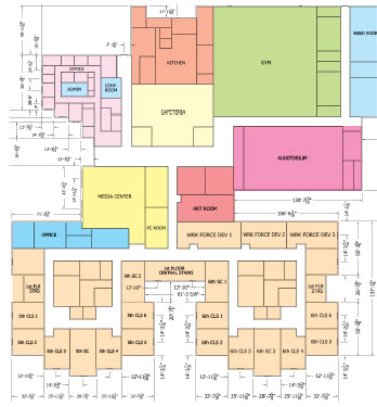 Figure 1. School first floor plan shows gym, auditorium, class rooms and cafeteria.