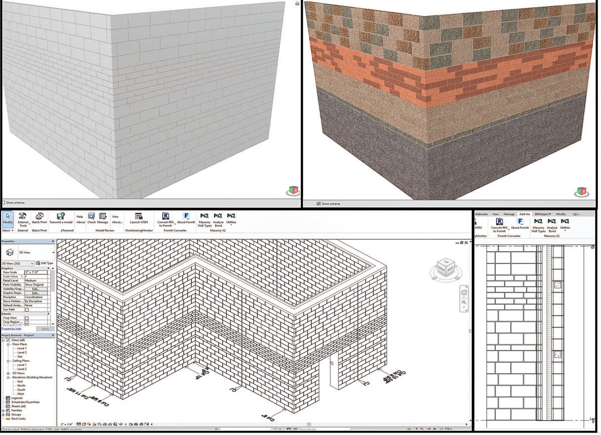 Custom bond patterns representing a wide range of masonry shapes can now be studied in design models. Corner bonding is accurately represented and models can be analyzed to assess a proper fit for masonry. BIM is delivering tools that are yielding a faster, smarter, more fun experience for all who design with masonry products.