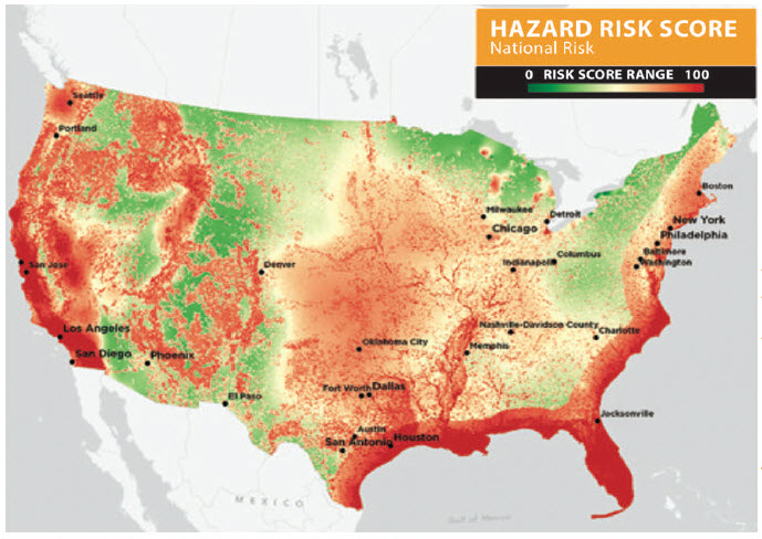 Figure 2 - Map illustrating natural hazard risks with areas of high risk in red and low risk in green