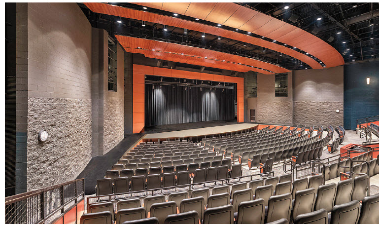A combination of smooth and split face CMU provides optimal acoustic performance in the 600 seat auditorium.