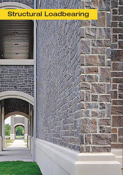 May be designed in any color and texture as a structural loadbearing masonry building enclosure. Grey ashlar pattern shown here.