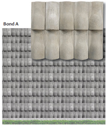 Bond patterns are arranged so each unit protects the unit below by gently extending beyond and providing a drip edge to shed water