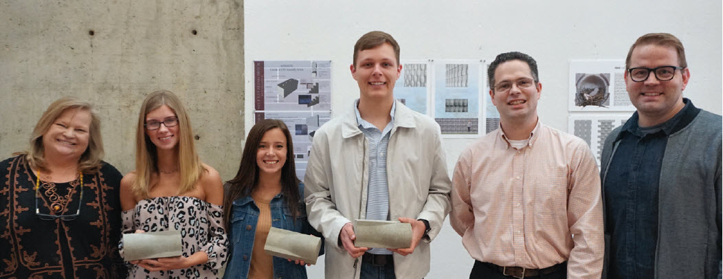 Mentor Belinda Stewart, FAIA, principal, Belinda Stewart Architects, winning design team students Madison Holbrook, McKenzie Johnson and Baron Necaise, mentor Fred Dunand, Saturn Materials president and owner, and MSU Assistant Professor of Architecture Jacob Gines celebrate the win