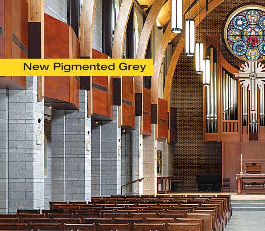The new look of designer pigmented grey oversized and polished CMU at Lenoir-Rhyne Chapel, Hickory NC