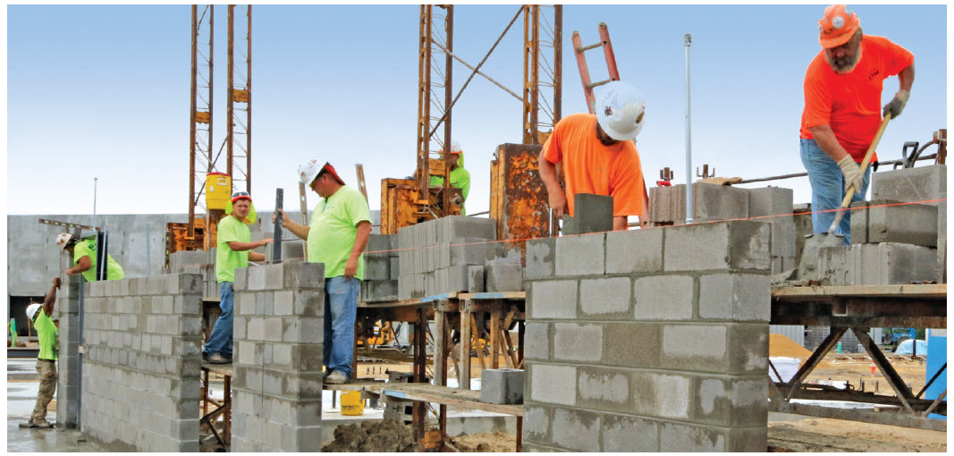 PRODUCTIVITY - During construction, lightweight units are user-friendly. With lightweight units, masons are able to maintain their productivity throughout the Fulton Hospital project, reducing fatigue and the installed wall cost by lowering the labor factor. Though the CMU are produced nearly 100 miles away, more units are able to be carried per truckload because they weigh less, minimizing transport trips and costs and maintaining the tight schedule requirements.