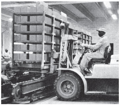 Figure 5. Moving full racks by forklift increases efficiency