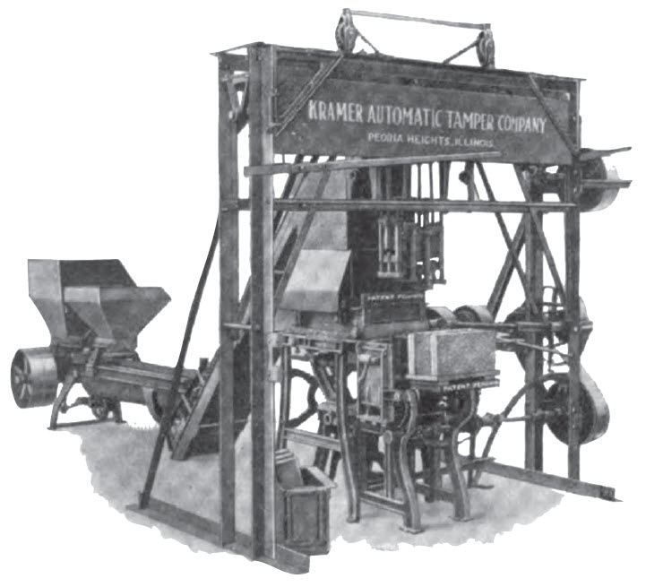 Figure 2. Adding mixing equipment and mechanical tamping increased productivity reducing manual labor required for block production circa 1910