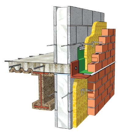 "SPF or rigid foam cavity insulation (yellow) with injected foam (white) in CMU cores incorporated in multi-wythe wall assemblies optimizes energy performance Lower cost, energy efficient next generation lightweight concrete masonry A-block have two 3/4"" thick webs."