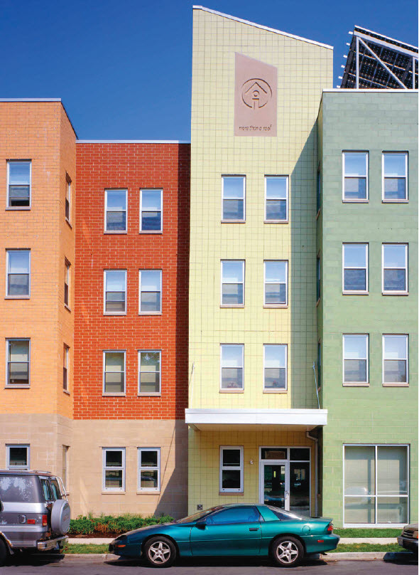 Brightly colored glazed block combine with integrally-pigmented concrete masonry to creat an eye-catching and innovative facade for this multi-family housing complex, Wentworth Commons on Chicago's South Side.
