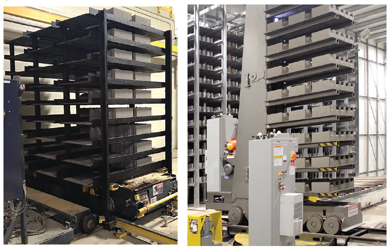 Figure 8. With more productive block machines, pallet handling systems became more robust and efficient as well such as the Besser Rack Transporter (left) and the Columbia Finger Car Pallet Transporter (right)