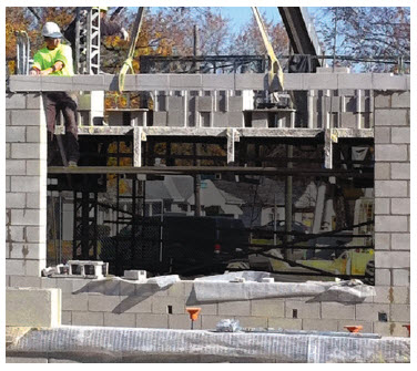 Prefabricated carbon fiber reinforced masonry lintels for most efficient just in time installation