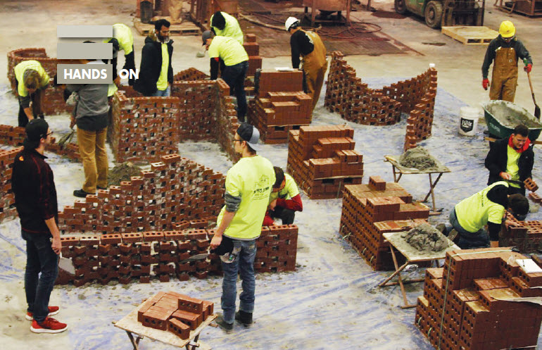Overview of the bricklaying portion of a recent ISU student field day.