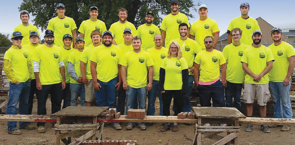 University of Northern Iowa students appreciate this hands-on experience with a day of masonry