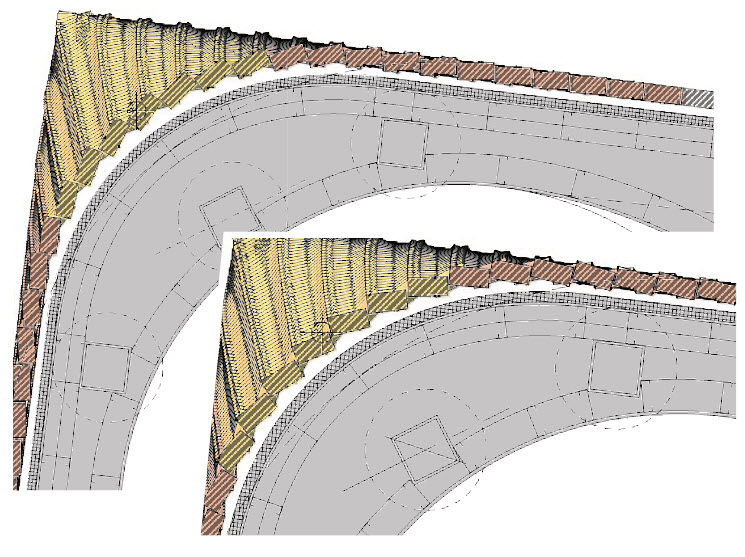 This final area to dissect begins with a square corner that transforms into a round corner, where the radius gets larger with every new course. Essentially, there is a cone embedded into the corner. Add in the specialty brick pattern with rotation, resulting in the bond being pushed ever further around the corner as the wall gets taller.