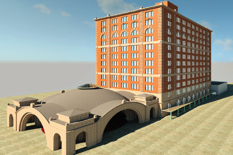 Using photos captured by the drone, dimensions are estimated by counting masonry units and taking specific field measurements to create a model of the building in Autodesk Revit 3D software detailing all required work. Models clearly and concisely convey the scope, scale and detail of the work. And Historic train station now apartment building, the Pennsylvanian.