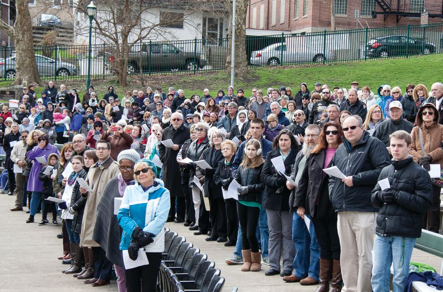 More than 400 people participate in the Divine Mercy Sunday service on April 3, 2016, in St. Clair Park, Greensburg.