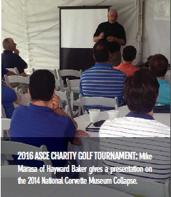 2016 ASCE CHARITY GOLF TOURNAMENT: Mike Marasa of Hayward Baker gives a presentation on the 2014 National Corvette Museum Collapse.