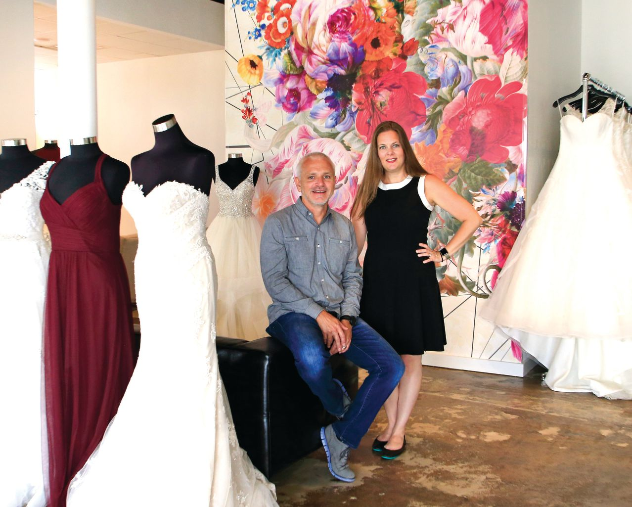 J.T. and Wendy Holsomback, owners of Bliss Bridal Salon, have renovated a spacious building in Historic Handley.