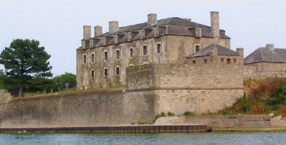 "The ""French Castle"" still stands today at Old Fort Niagara, an imposing sight seen from Lake Ontario."