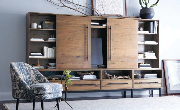 Aitiaus' Sullivan wall unit combines rustic cabinetry with functional, modern design. Photo courtesy of Arhaus