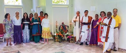 Empty nest syndrome is common in the West for mothers whose children leave for university; (left) a Ganesh puja performed at the Sperling residence with family, friends and Pundit Ji Kailashanathan Sastrigal, celebrating Mahar's high-school graduation and admission to NYU Gallatin School of Individualized Study