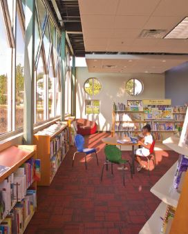The Ella Mae Gratts Shamblee Library design incorporates a 1930s-era school building in a historic neighborhood context.