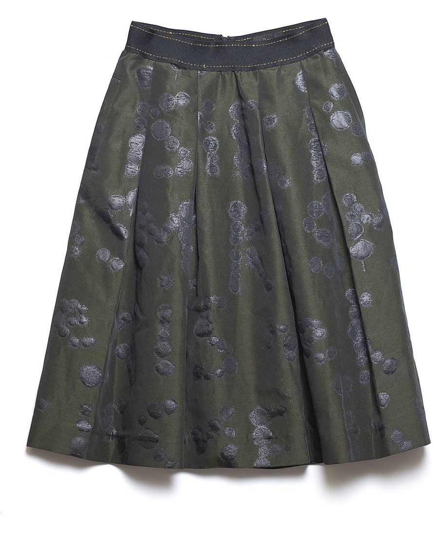 Green and black is one of our favorite color combos. Dress this Ottodame skirt up or down with a leather bomber jacket and boots or a cashmere sweater and pumps. $203, You Are Here.