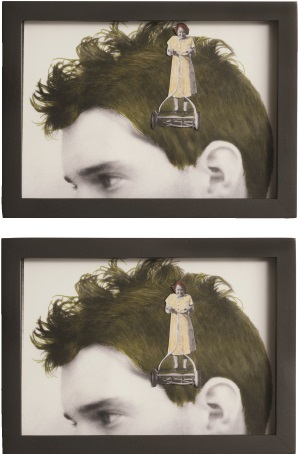 Val Hunnicutt's Mowhawk (2017, mixed media, 7.5 by 5.5 inches), is pictured twice to show the lawn mower's movement. Look for this series and other artwork for sale at this year's benefit. Image courtesy of Val Hunnicutt