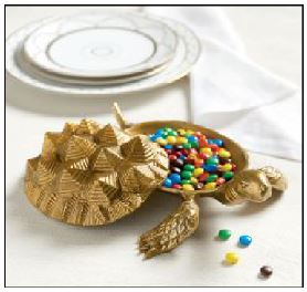 This brass-colored cast aluminum candy dish is from of The Bunny Williams line. Photo courtesy of Ballard Designs