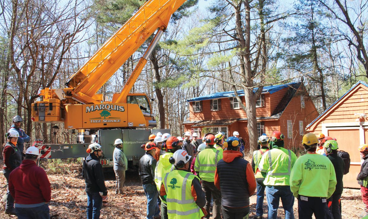 TCIA helped organize this crane-training day for OSHA field personnel at Minuteman National Park in Concord, Massachusetts, in spring 2019. When it comes to using cranes for tree work, OSHA, ASME and ANSI regulations all come into play. TCIA staff photos by Kathleen Costello.
