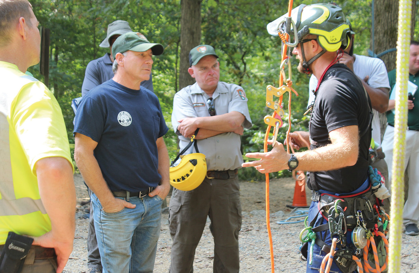 Brad Hughes, CTSP, talks about the skills and endurance needed to climb in traditional ways versus using crane assistance during the second TCIA-organized crane training day for OSHA and National Park Service personnel, this one in Maryland in September 2019.