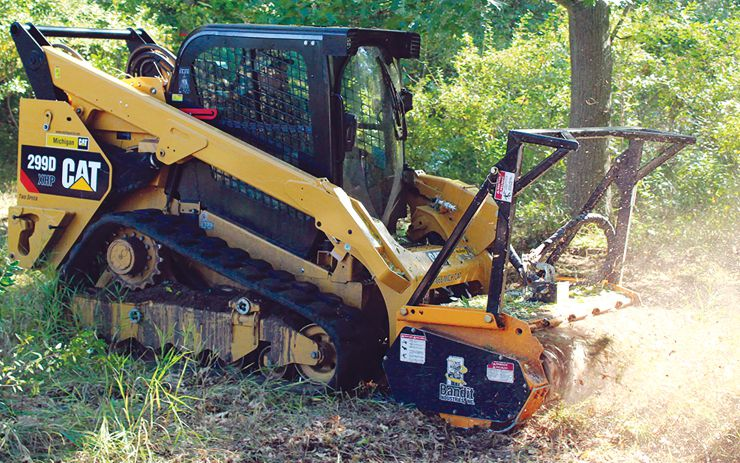 Compact carriers and mulchers, such as this Bandit Model 60FM attachment, are able to work in close quarters such as trails, yards or selective forest thinning. Courtesy of Bandit.