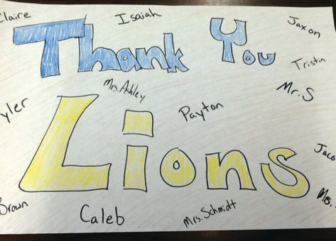 Simonson's class presented this hand-drawn thank-you card to the Lions. The school also shared a thank-you letter on its Facebook page and in its newsletter.