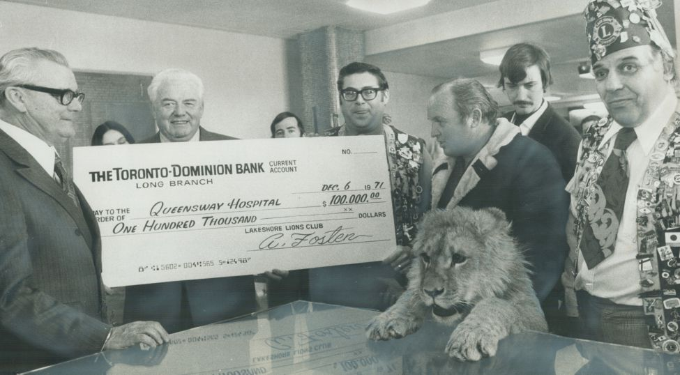 Lakeshore Lions in Ontario, Canada, help fund the expansion of Queensway General Hospital near Toronto in 1971.  As these Lions did, clubs can have a lasting impact on their community through a Legacy Project.